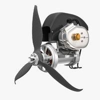 piston engine propeller 3D model