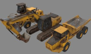 construction vehicles excavator loader 3D model