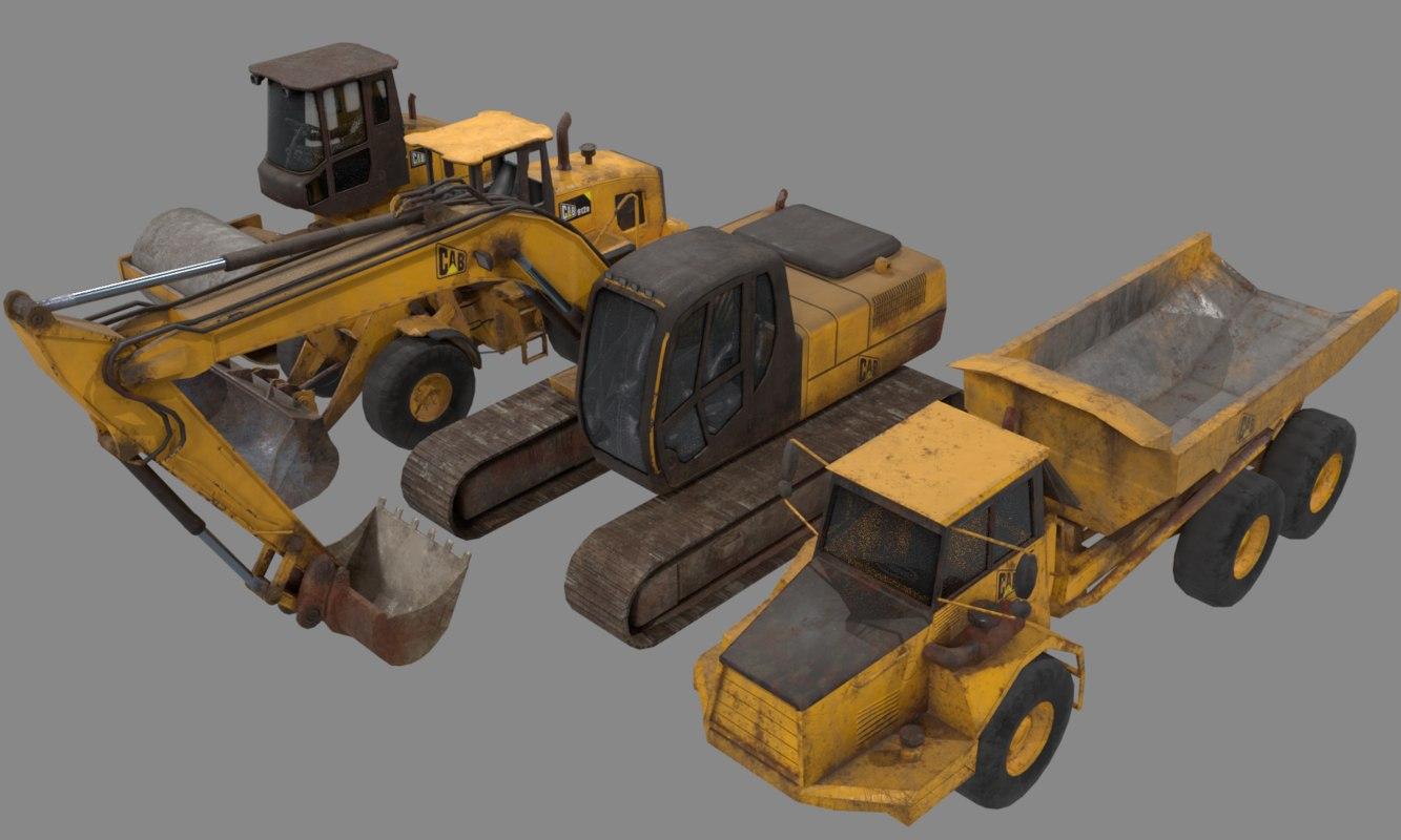construction vehicles excavator loader 3D model