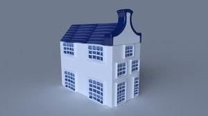 3D klm delft blue house model