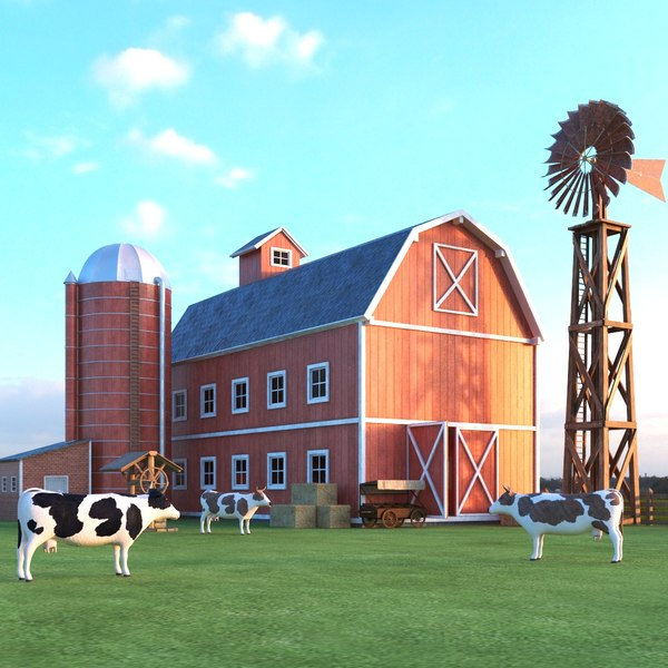3D model farm scene barn cow