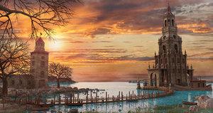 3D fantasy sunset tower model