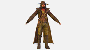 3D character cowboy leather coat