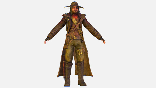 3D character cowboy leather coat