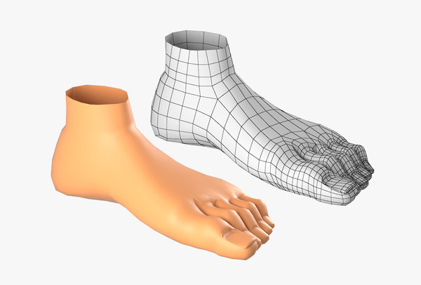 3D model foot cartoon character basemesh