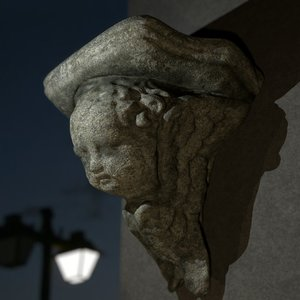 3dsmax stone pedestal angel