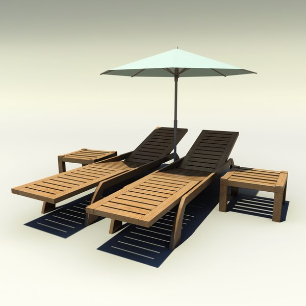 3ds max poolside deck chairs