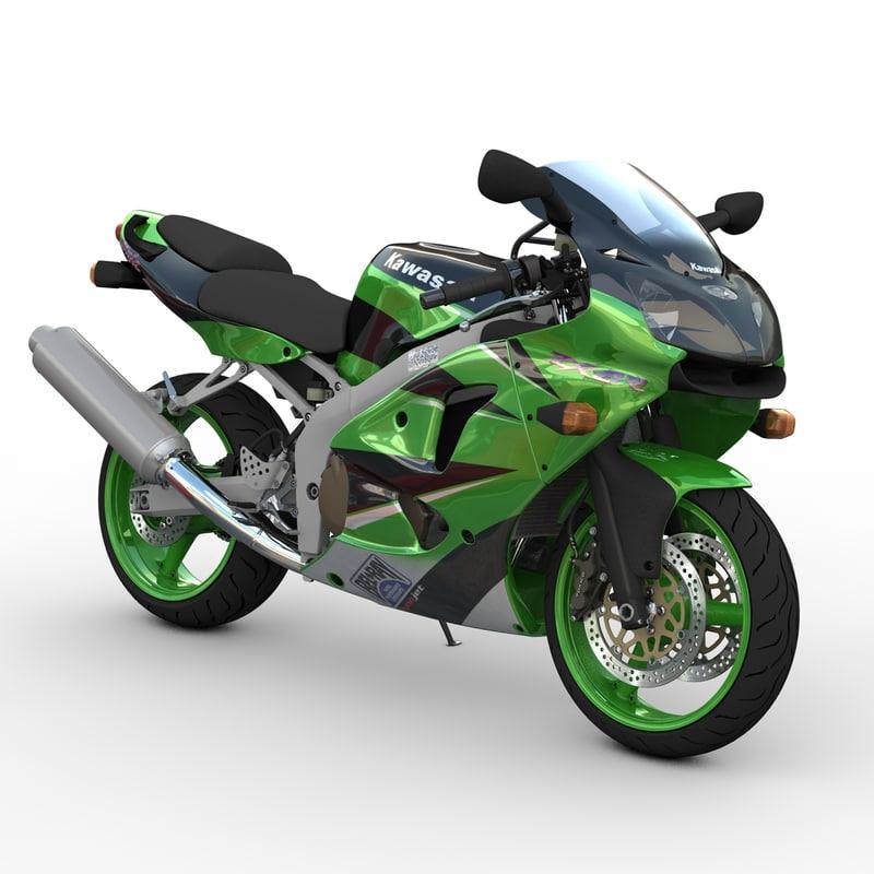 kawasaki super sport motorcycle 3d model