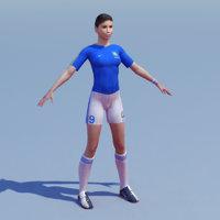 female soccer player 3d model