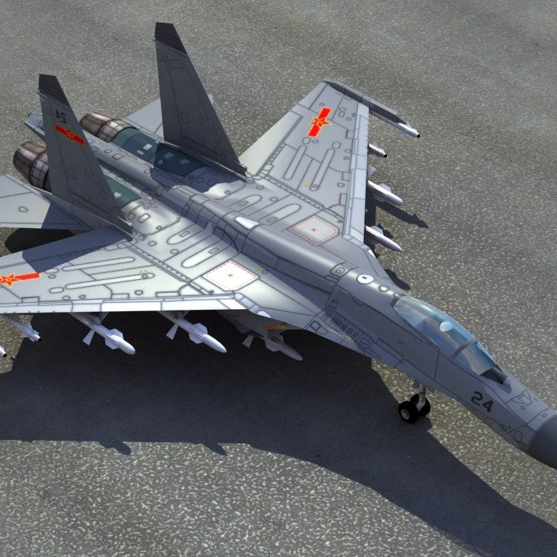 3d plaaf flanker fighter model