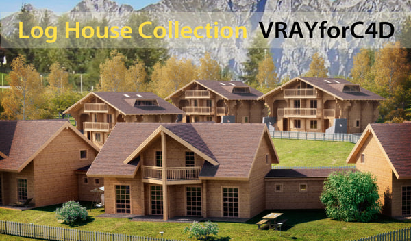 3d log wooden house model
