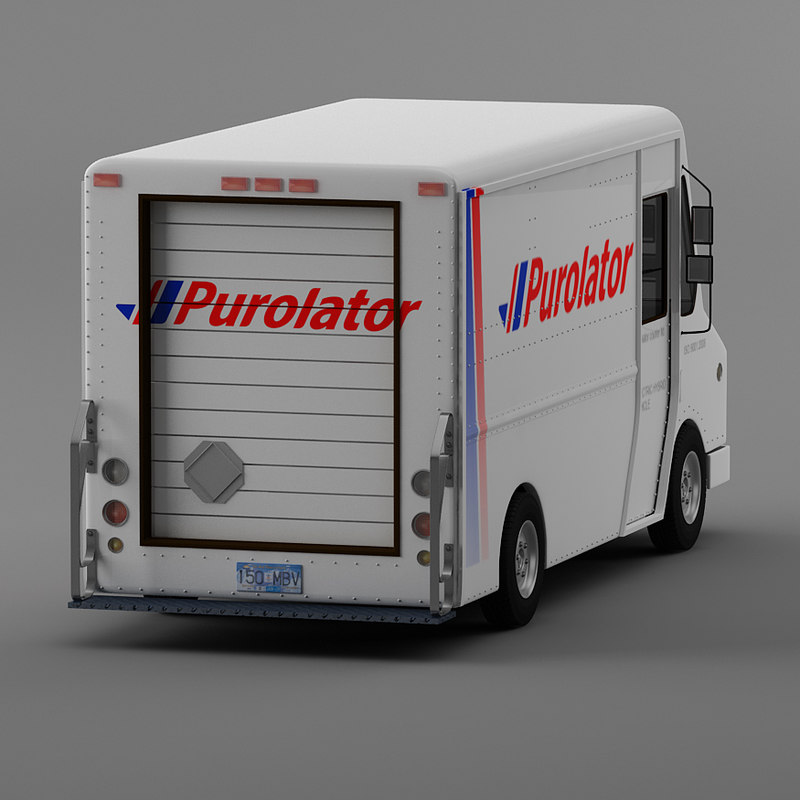courier delivery truck purolator 3d model