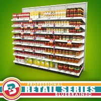3d grocery shelves soup -