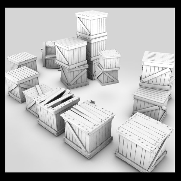 wooden crates wood 3d max