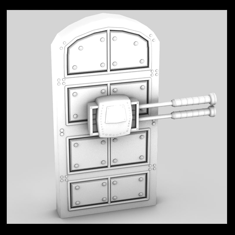 3d metal door moving