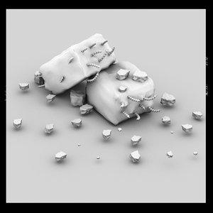 3d model of pillar debris