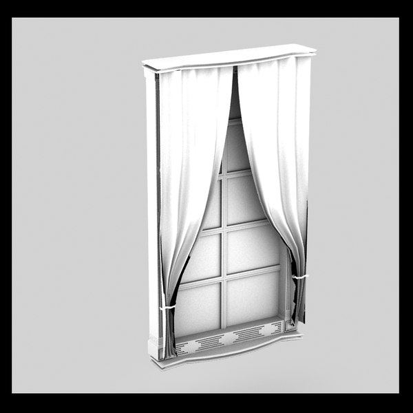 window old curtain 3d model