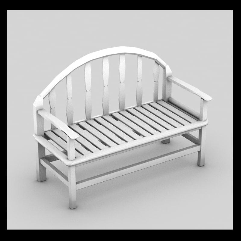 3d wooden bench wood