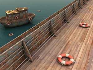 3d model ocean ships metal handrail