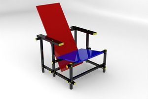 3ds max red blue chair furniture