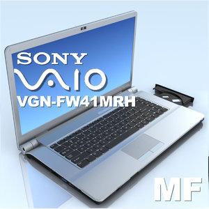 notebook sony vgn-fw41mrh laptop 3d model