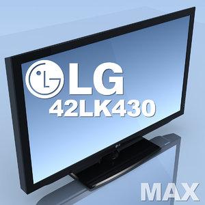 3d model of tv lg 42lk430