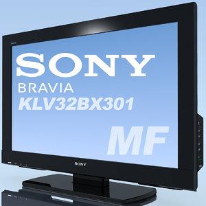 3d model of tv sony bravia 32bx301