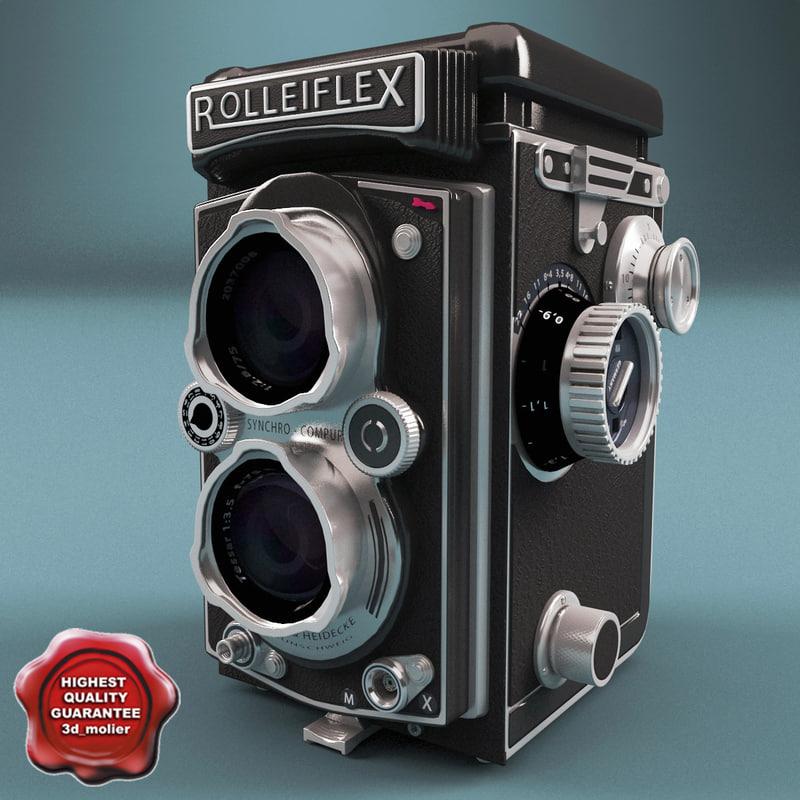3d model of antique camera rolleiflex tessar