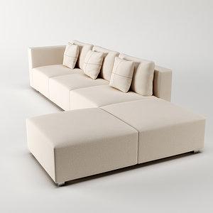 3d model minotti braque sofa