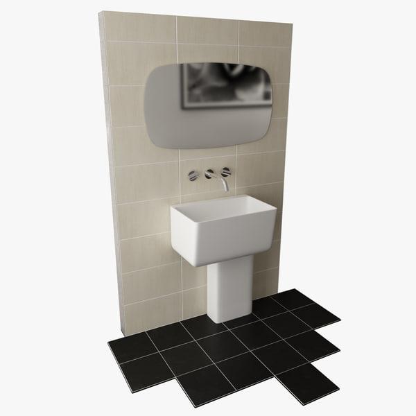 free contemporary bathroom set 3d model