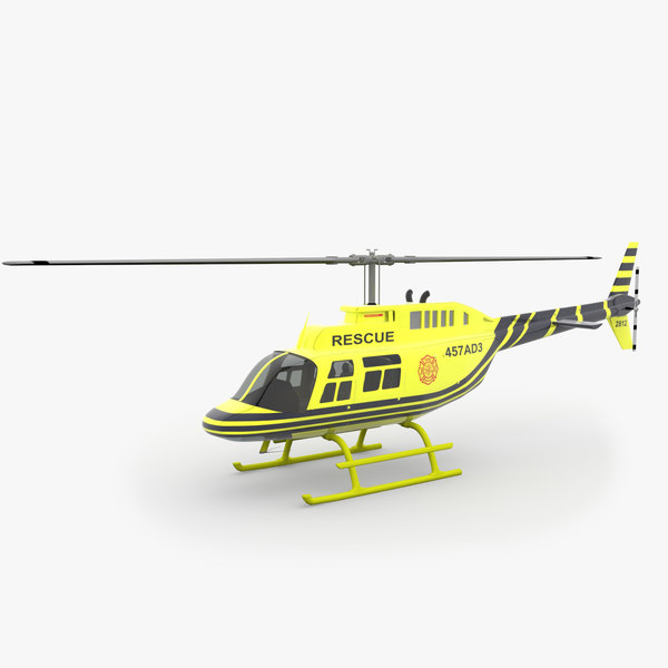 3d model of 206 jetranger helicopters