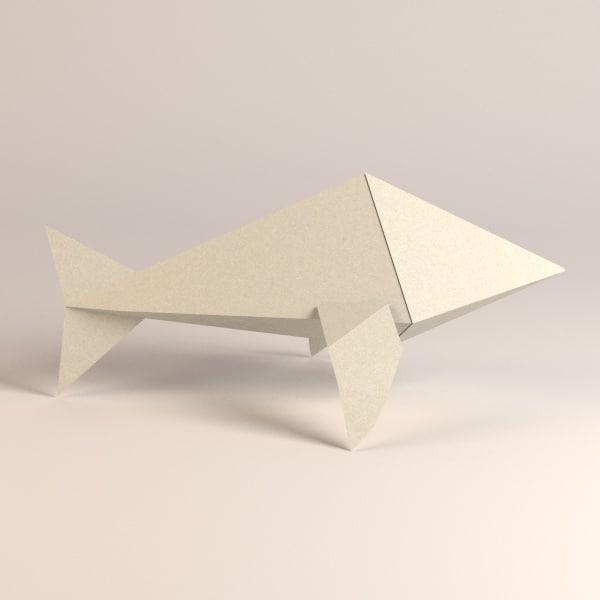 paper whale 3d model