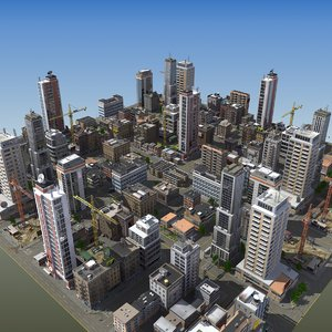 modular city buildings hd 3d max