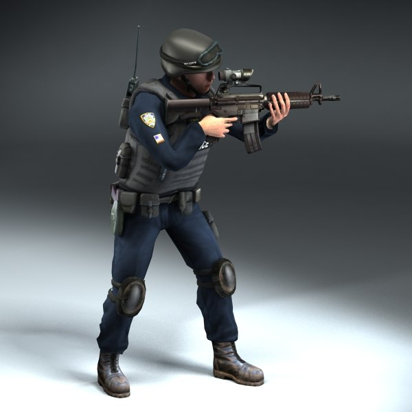 police swat rigged 3d max