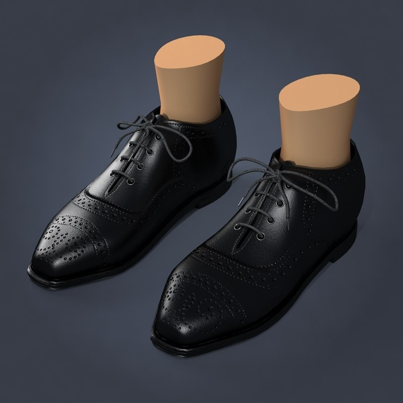 3ds max black leather shoes