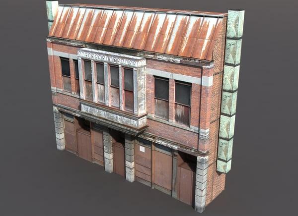 3d model derelict building exterior