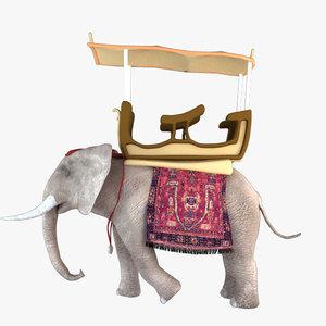 3d elephant african model