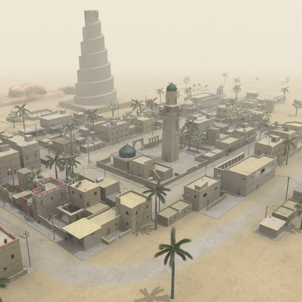 middle eastern town houses 3d model