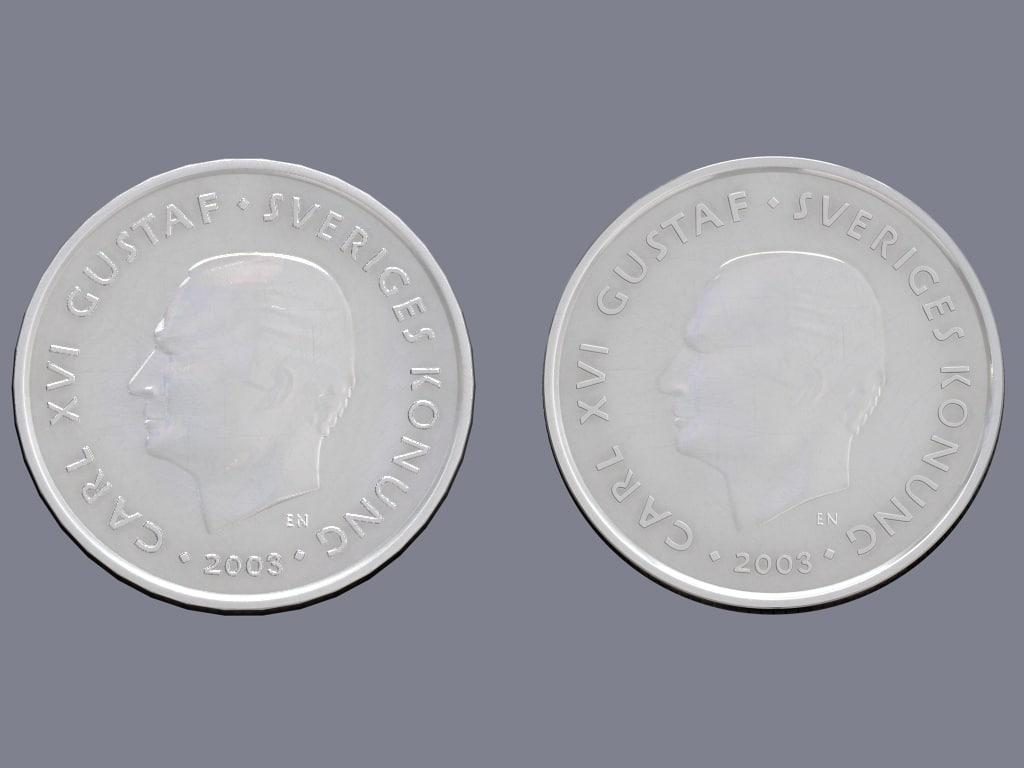 swedish crown coin 3d max