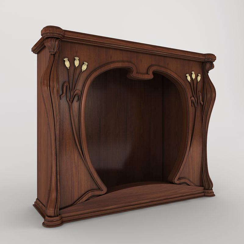 3d art nouveau fireplace