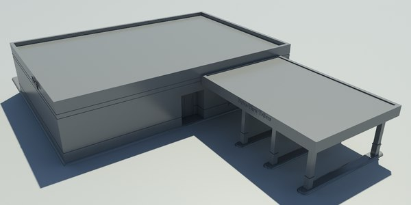 Bank 1 NoMat - Drive-Thru Bank Model - 3DS MAX 2010