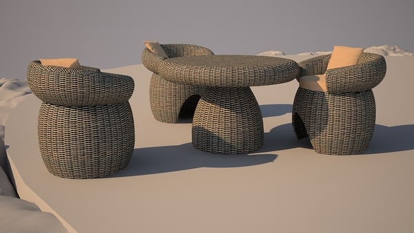 resin wicker dining 3d max