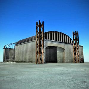 3d ruined warehouse interior model