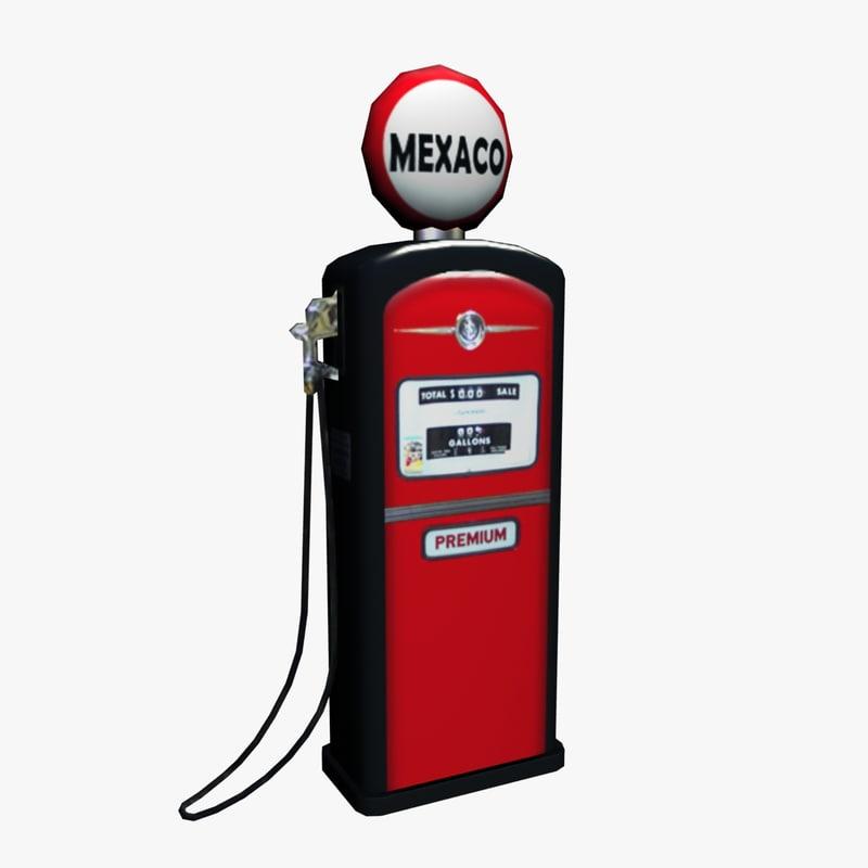 3d low-poly gas pump model