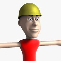 jimmy cartoon character rigged 3d model
