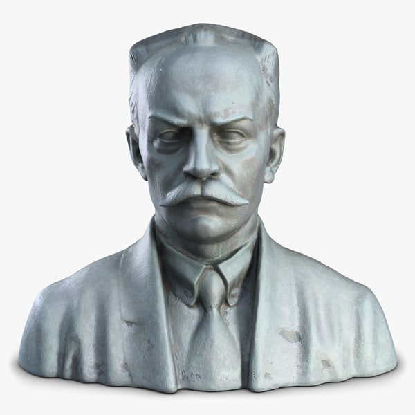 3d man bust sculpture model