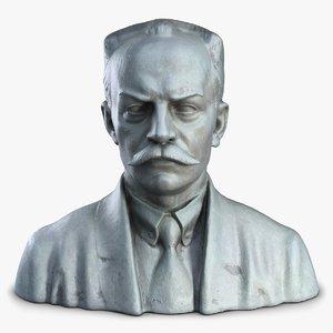 3d man bust sculpture model