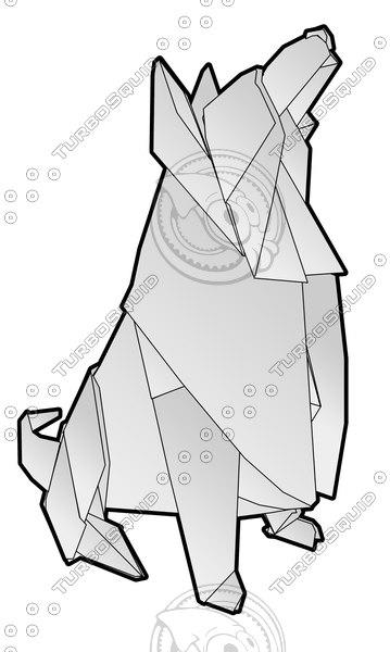 Origami figure Hachiko