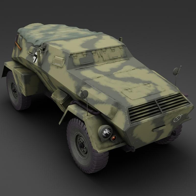kfz 247 armored car 3d model