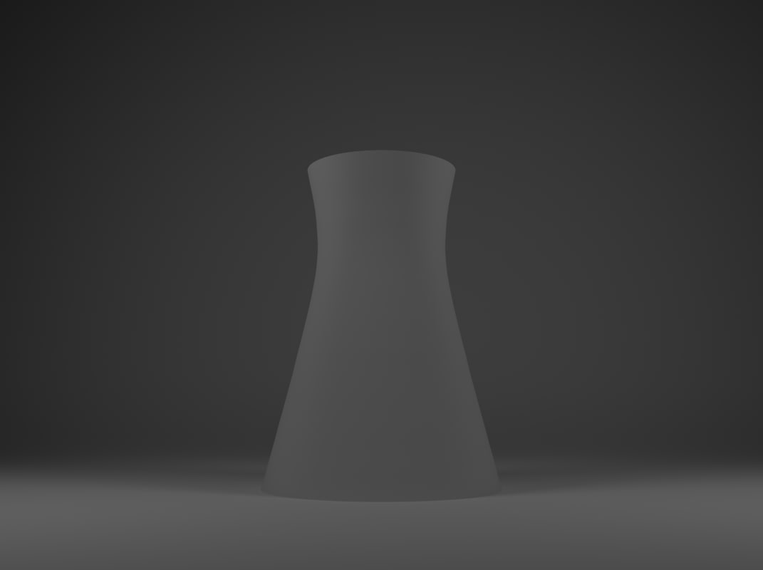 nuclear power cooling tower 3d blend